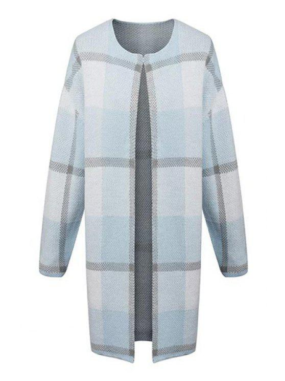 women's Round Neck Plaid Longline Cardigan - LIGHT BLUE S