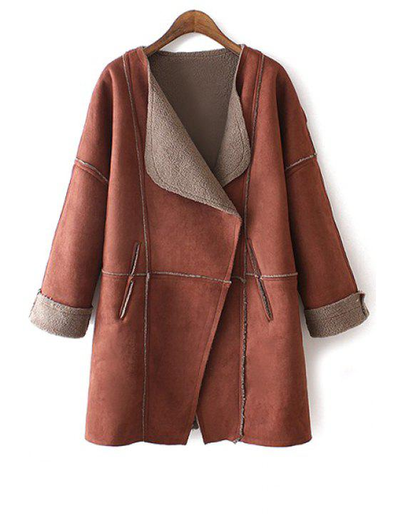 affordable Angle Front Fleece Lining Suede Coat - RED M