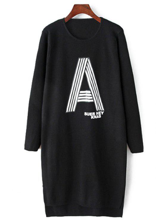 fancy Letter A Print Long Sleeve Sweater Dress - BLACK ONE SIZE(FIT SIZE XS TO M)