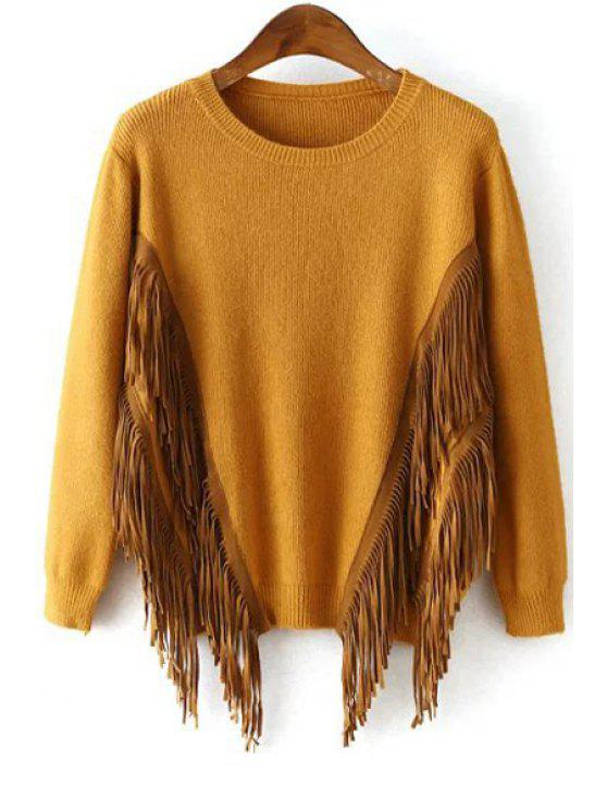 best Tassels Solid Color Round Collar Long Sleeves Sweater - GINGER ONE SIZE(FIT SIZE XS TO M)