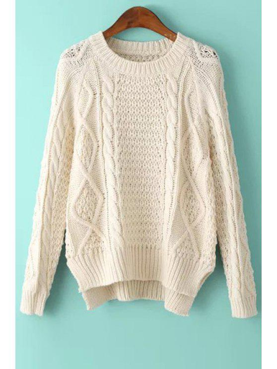 women's Solid Color High-Low-Hem Round Collar Sweater - OFF-WHITE ONE SIZE(FIT SIZE XS TO M)