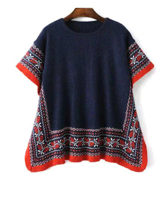 best Ethnic Pattern Oversized Sweater - BLUE ONE SIZE(FIT SIZE XS TO M)
