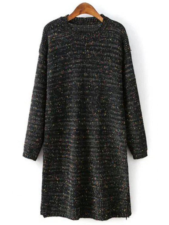 affordable Round Collar Long Sleeves Colormix Sweater Dress - BLACK ONE SIZE(FIT SIZE XS TO M)