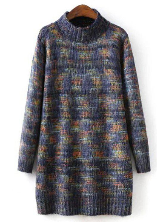 women's Turtle Neck Long Sleeves Thicken Sweater Dress - BLUE ONE SIZE(FIT SIZE XS TO M)