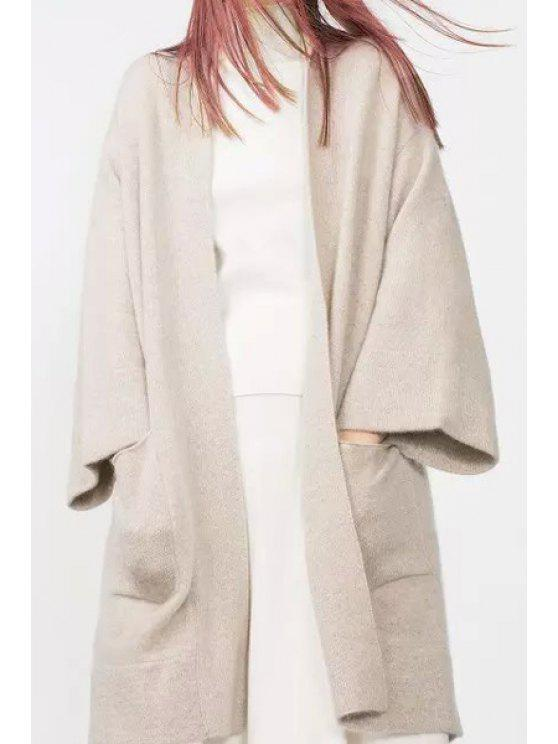 hot Open Front Big Pockets Long Cardigan - WHITE S