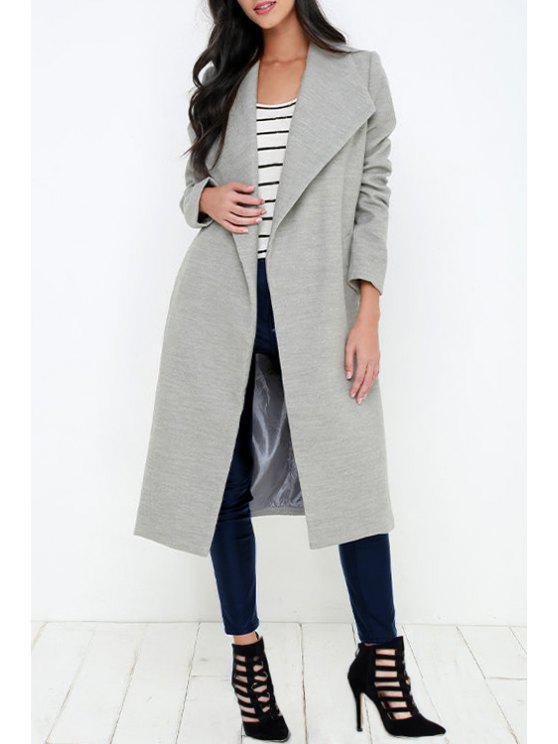 fancy Gray Turn Down Collar Long Coat - GRAY S