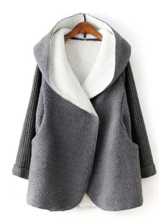 fancy Solid Color Faux Fur Hooded Sweater Sleeves Coat - GRAY ONE SIZE(FIT SIZE XS TO M)