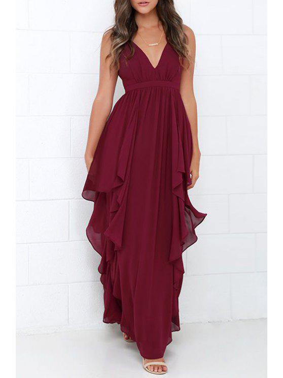 Ruffles V Neck sans manches en mousseline de soie robe maxi - Rouge vineux  XL