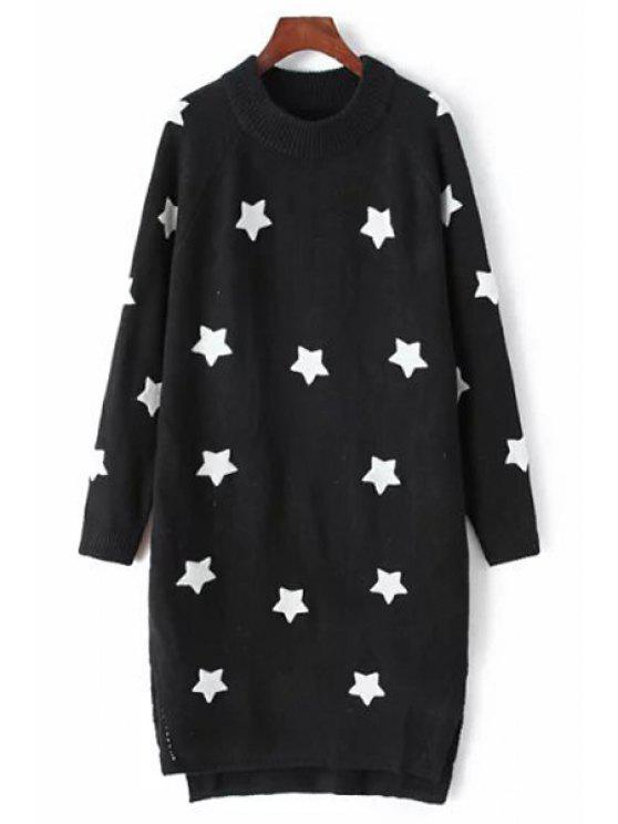 online Star Embroidery Side Slit Round Collar Sweater Dress - BLACK XS