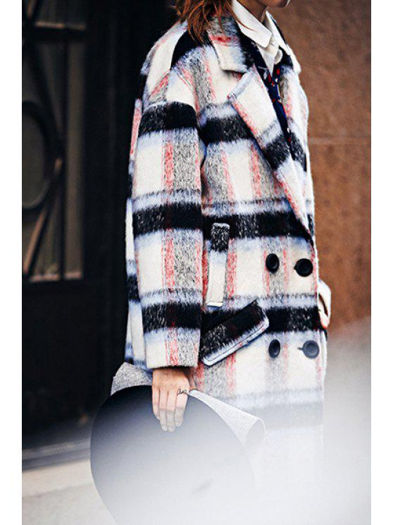 new Lapel Double-Breasted Plaid Overcoat - COLORMIX S