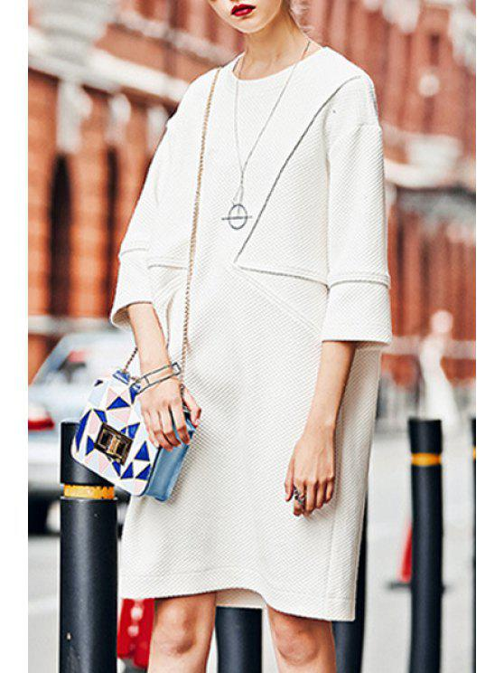 0d60c527ff4 25% OFF  2019 3 4 Sleeve Loose-Fitting Sweater Dress In WHITE