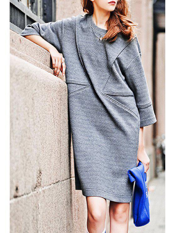 women's 3/4 Sleeve Loose-Fitting Sweater Dress - GRAY S