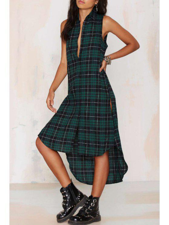 ladies Green Checked Shirt Neck Sleeveless Dress - GREEN S