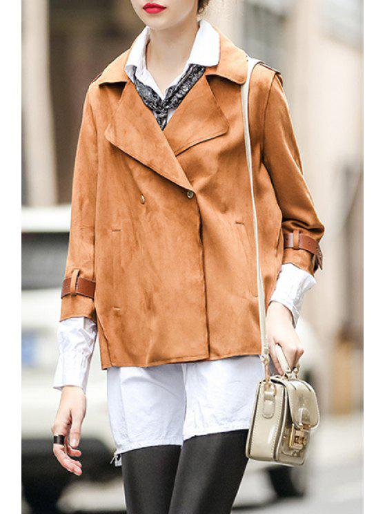 shops 3/4 Sleeve A-Line Brown Suede Jacket - BROWN S