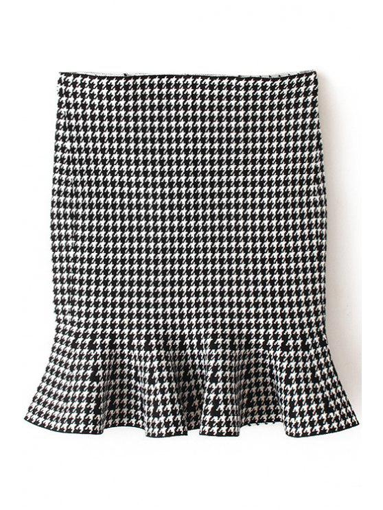 best Houndstooth Flouncing Bodycon Skirt - WHITE ONE SIZE(FIT SIZE XS TO M)