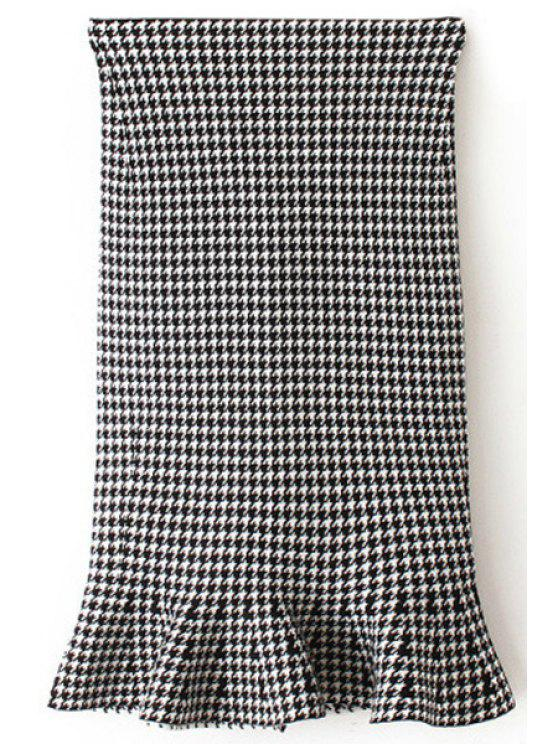 hot Houndstooth Bodycon Ruffles Midi Skirt - WHITE ONE SIZE(FIT SIZE XS TO M)