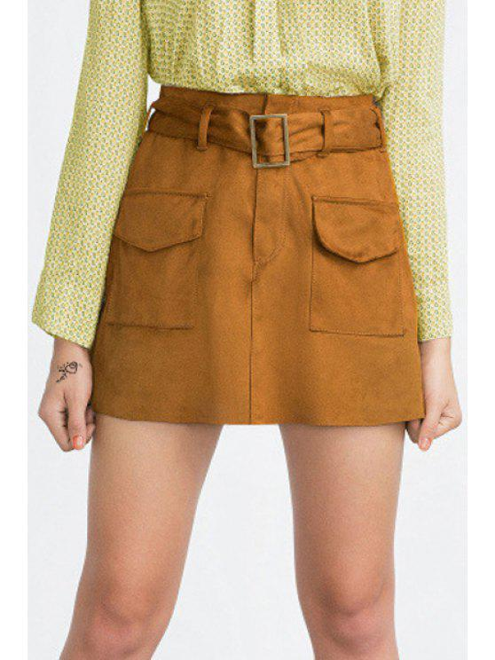 chic A-Line Belted Suede Skirt - YELLOW XXS