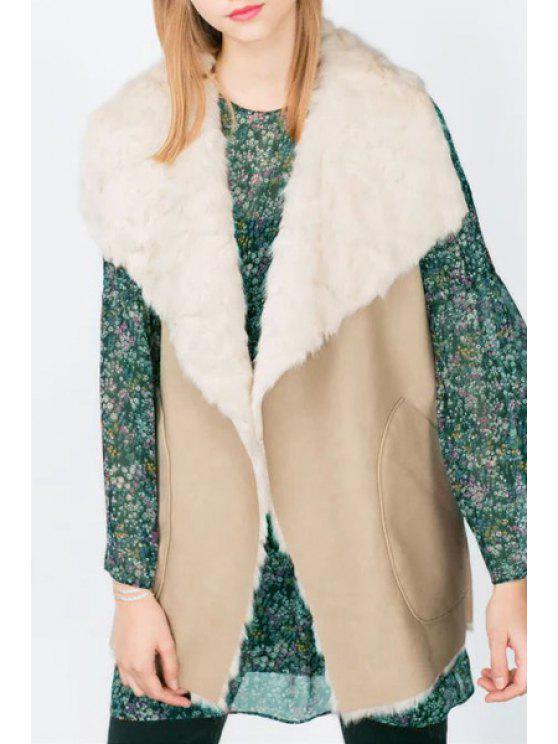 fashion Pocket Design Faux Fur Waistcoat - KHAKI L