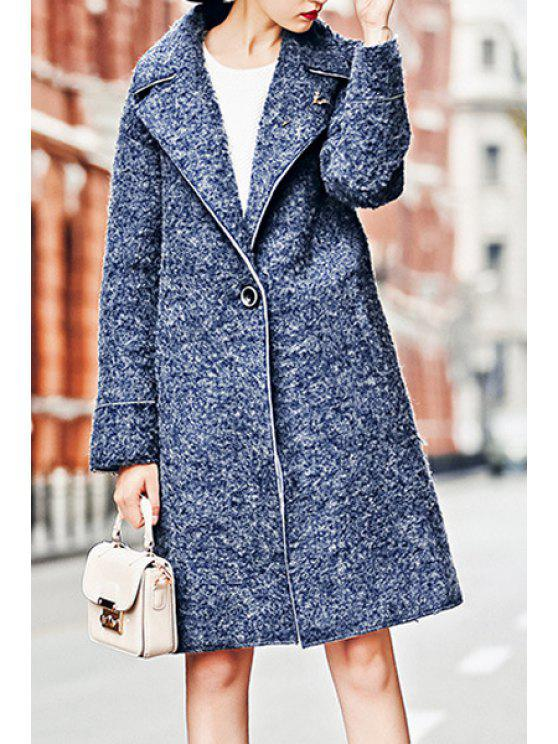 outfits Lapel Blue Worsted Overcoat - BLUE S