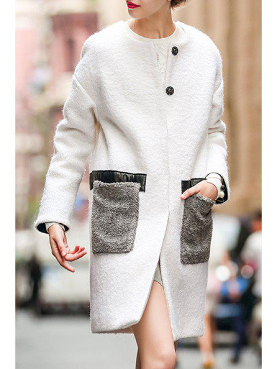 latest Double Pockets White Wool Coat - WHITE S