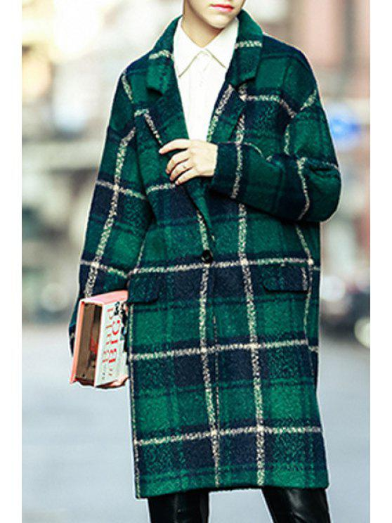 womens Plaid Single-Breasted Green Overcoat - GREEN S