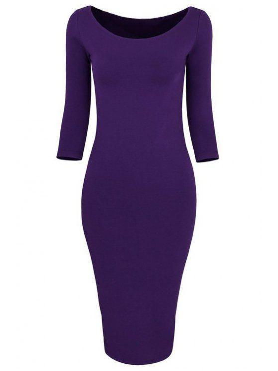 ladies 3/4 Sleeve Pure Color Bodycon Dress - PURPLE XL