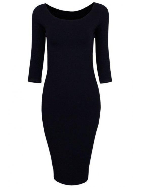 buy 3/4 Sleeve Pure Color Bodycon Dress - BLACK XL