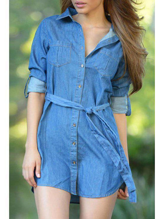 affordable Solid Color Waisted Chambray Flat Collar Shirt Dress - BLUE M