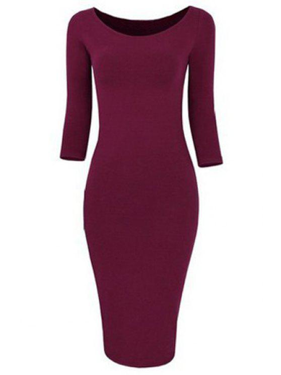 44d7498abebf 29% OFF  2019 3 4 Sleeve Pure Color Bodycon Dress In WINE RED