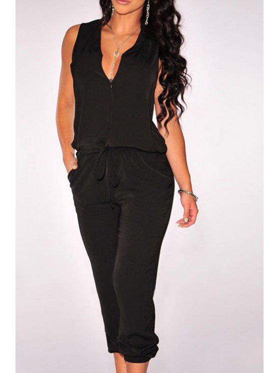 shops Sleeveless Drawstring Black Jumpsuit - BLACK ONE SIZE(FIT SIZE XS TO M)