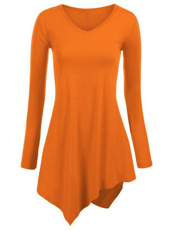 sale Irregular Hem V Neck Long Sleeve T-Shirt - ORANGE S