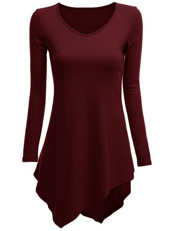 outfit Irregular Hem V Neck Long Sleeve T-Shirt - WINE RED S