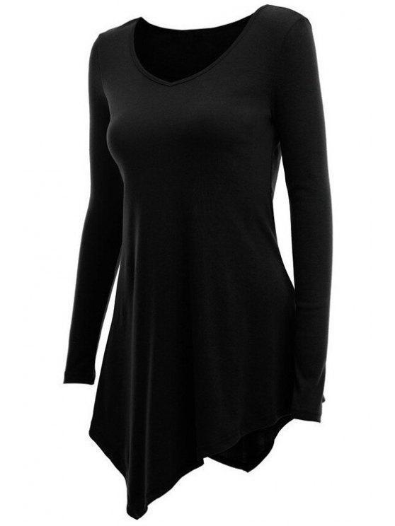 womens Irregular Hem V Neck Long Sleeve T-Shirt - BLACK M