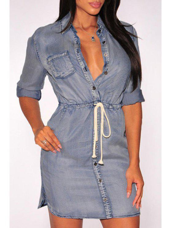 lady Solid Color Waisted Denim Flat Collar Shirt Dress - LIGHT BLUE ONE SIZE(FIT SIZE XS TO M)