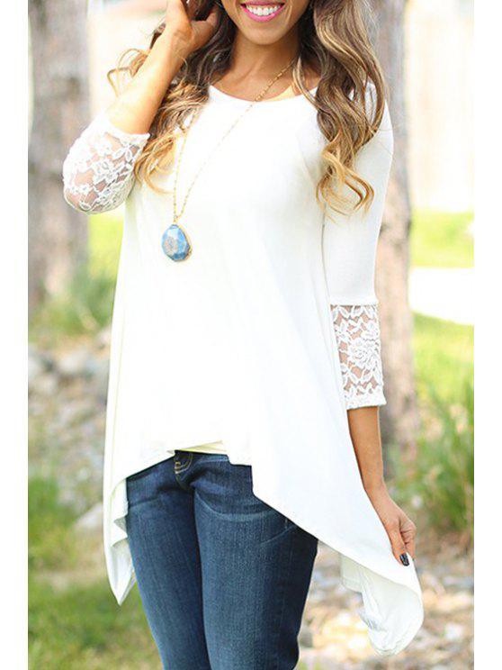 shop 3/4 Sleeve Lace Hem Irregular T-Shirt - WHITE ONE SIZE(FIT SIZE XS TO M)