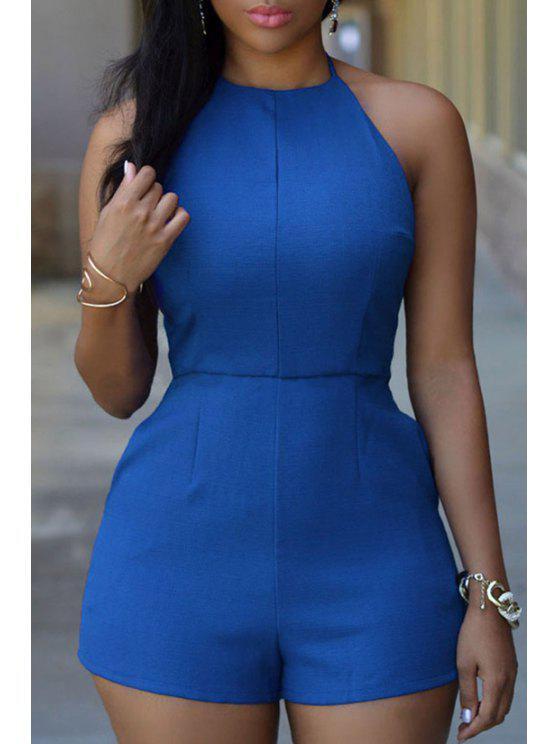 buy Halter Neck Solid Color Backless Sexy Romper - BLUE M