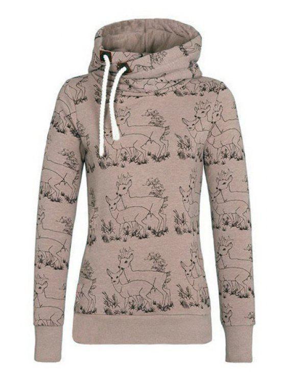 women's Fawn Print Stand Neck Long Sleeve Sweatshirt - KHAKI S