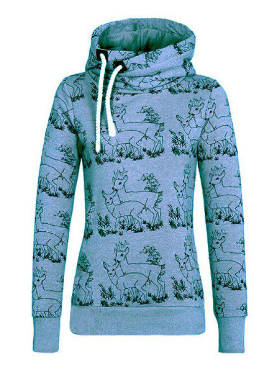 new Fawn Print Stand Neck Long Sleeve Sweatshirt - BLUE S