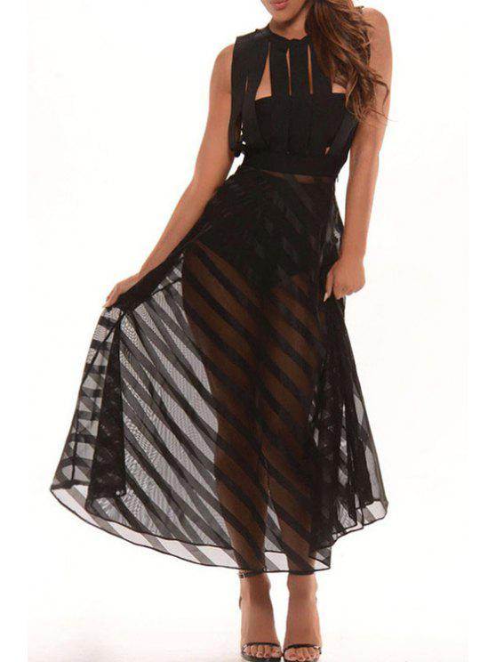 shop Sleeveless Mesh Panel Dress + Tube Top + Briefs - BLACK ONE SIZE(FIT SIZE XS TO M)