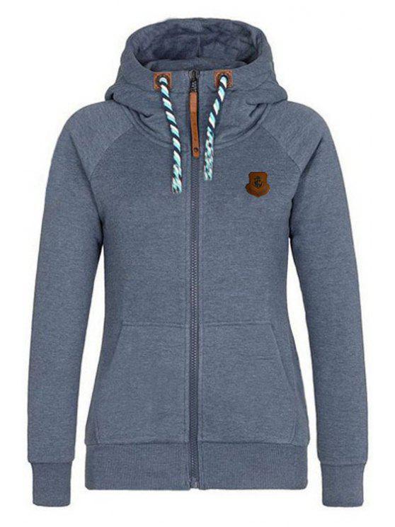 lady Solid Color Long Sleeve Zip Up Hoodie - DEEP GRAY S