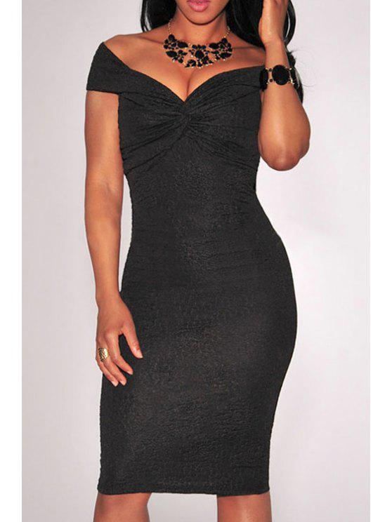 womens Off-The-Shoulder Ruched Bodycon Dress - BLACK M