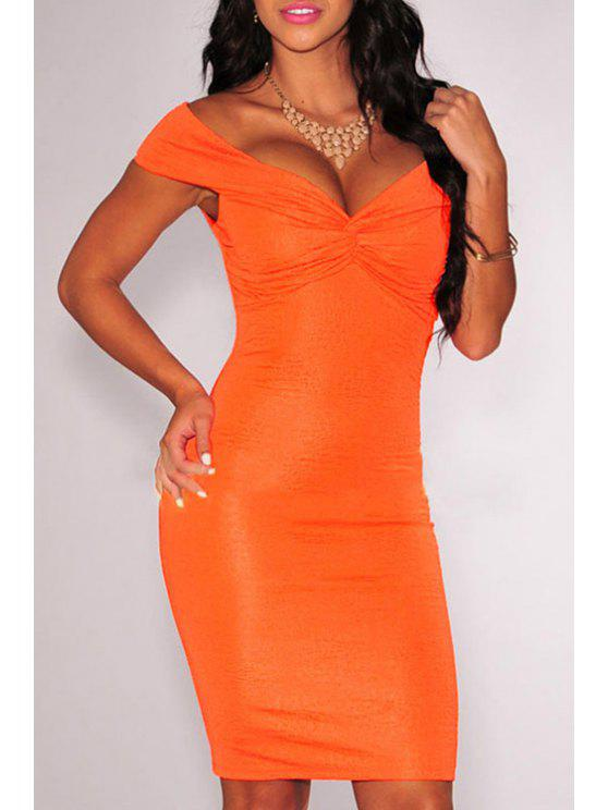 women's Off-The-Shoulder Ruched Bodycon Dress - ORANGE M