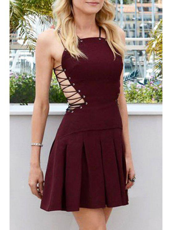 women's Waisted Spaghetti Straps Solid Color Lace-Up Dress - WINE RED L