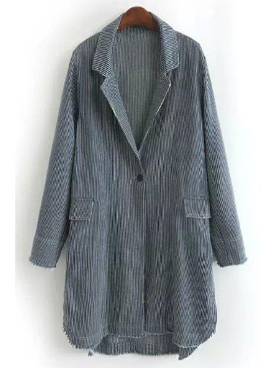 outfits Striped Denim Trench Coat - GRAY ONE SIZE(FIT SIZE XS TO M)