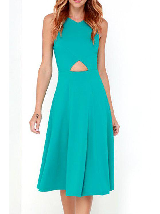 online Back Zipper Spaghetti Straps Cut Out Solid Color Dress - BLUE M
