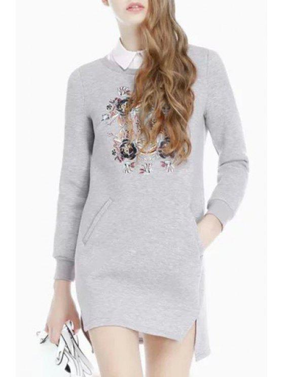 outfits Floral Print Side Slit Dress - GRAY S