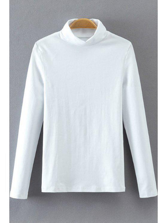 chic Turtle Neck Long Sleeve T-Shirt - WHITE S