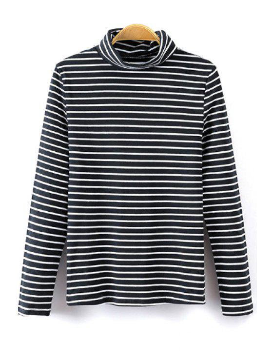 sale Turtle Neck Long Sleeve Striped T-Shirt - BLACK S
