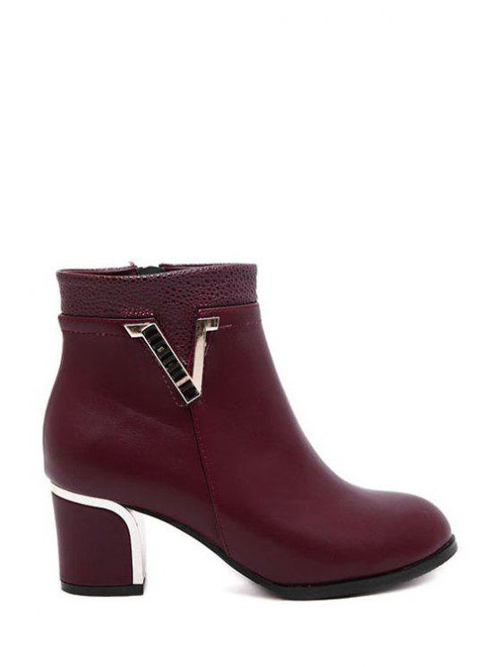 hot V-Shape Pointed Toe Metal Ankle Boots - WINE RED 35