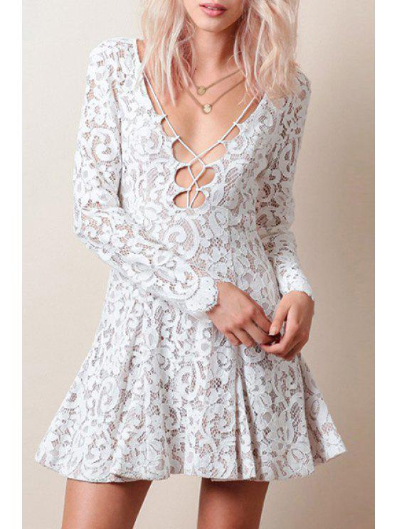 womens Lace White Plunging Neck Long Sleeve Dress - WHITE S